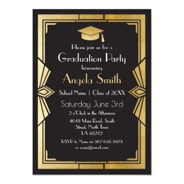 Graduation Party Invite Art Deco Gatsby Gold 1920s