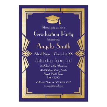 Graduation Party Invite Art Deco Gatsby Navy 1920s