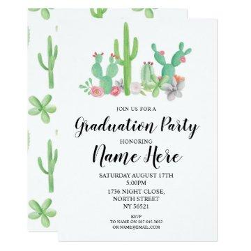 Graduation Party Invite Cactus Watercolor Print