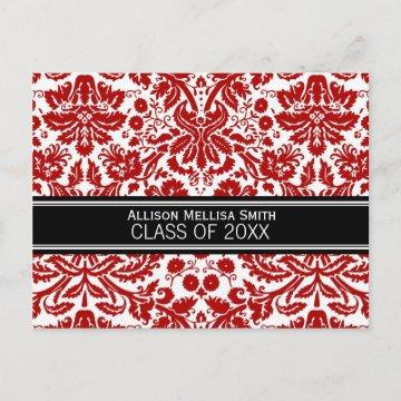 Graduation Party Invite Red Black Damask