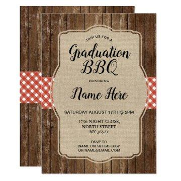 Graduation Party Invite Red Gingham BBQ Burlap
