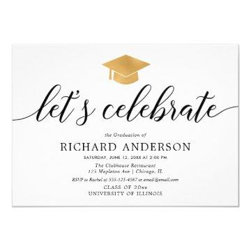 Graduation party, Let's Celebrate simple modern Invitation