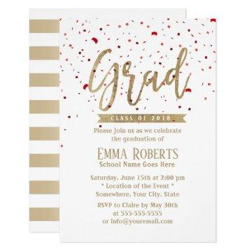 Graduation Party Modern Gold Script Red Confetti Invitation