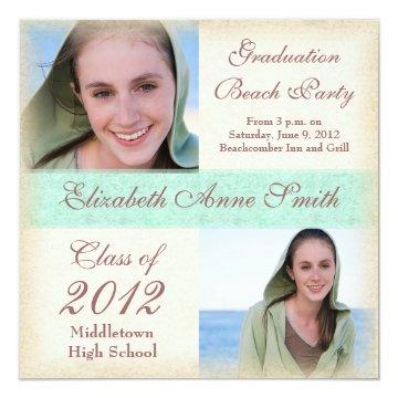 Graduation Party on the Beach Windswept Grunge Invitation
