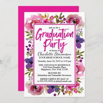 Graduation Party Pink Floral Watercolor Invitation