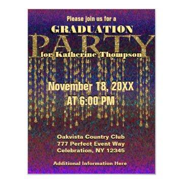 Graduation Party | Rainbow Glitter and Gold Card