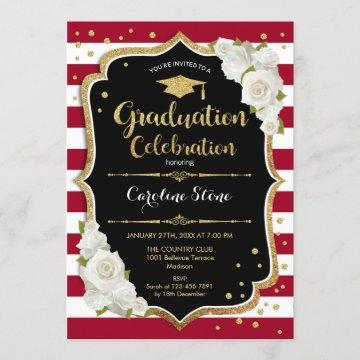 Graduation Party - Red Black Gold White Invitation