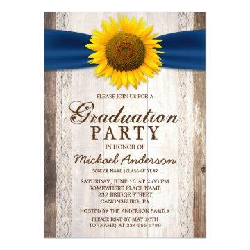 Graduation Party Rustic Barn Wood Sunflower Ribbon Card