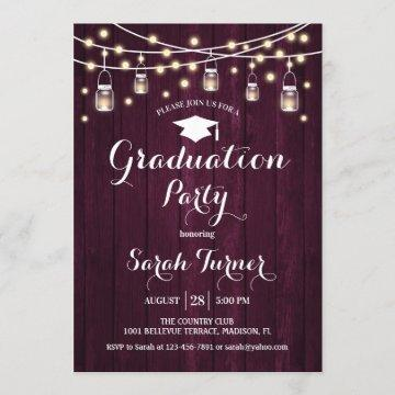 Graduation Party - Rustic Burgundy Wood Invitation