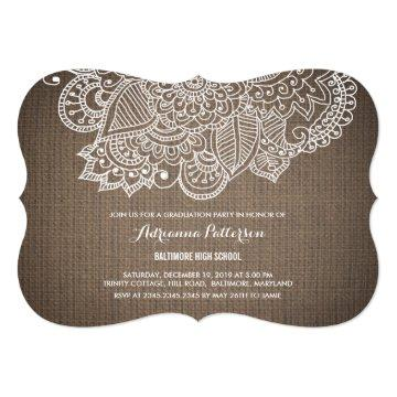 Graduation Party | Rustic Burlap Paisley Pattern Card