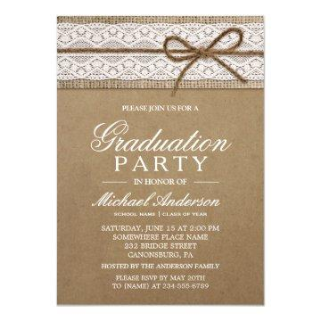 Graduation Party Rustic Burlap String Bow Lace Invitation