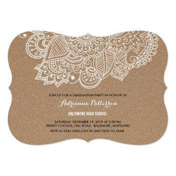 Graduation Party | Rustic Paisley Pattern Invitation