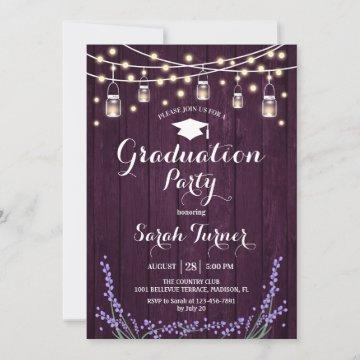 Graduation Party - Rustic Purple Wood Lavender Invitation