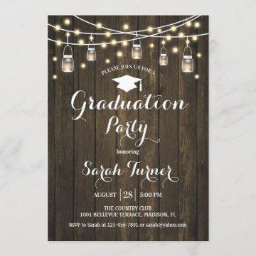 Graduation Party - Rustic Wood Invitation