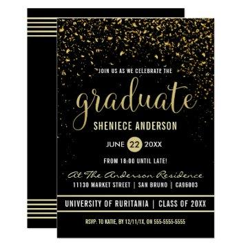 Graduation Party | Shimmering Gold Confetti Card