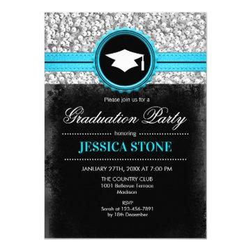 Graduation Party - Silver Black Turquoise Invitation