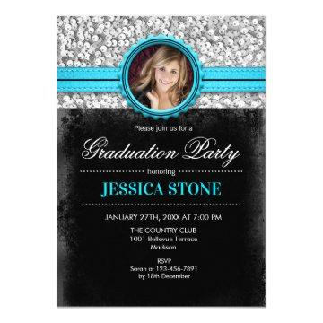 Graduation Party - Silver Black Turquoise - Photo Invitation