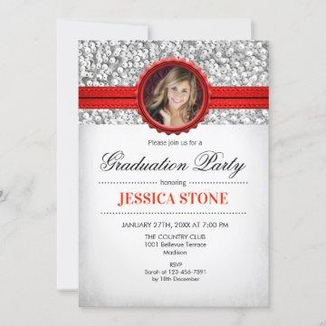Graduation Party - Silver White Red Photo Invitation