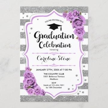 Graduation Party - Silver White Stripes Purple Invitation