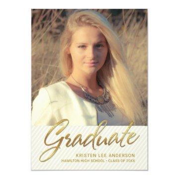 Graduation Party - Sophisticated Pin Stripes Photo Invitations