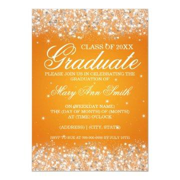Graduation Party Sparkling Glitter Orange Invitation