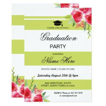 Graduation Party Stripe Lime Green Floral Invite