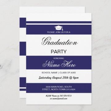 Graduation Party Stripe Navy White Invite Graduate