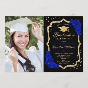 Graduation Party With Photo - Royal Blue Gold Invitation