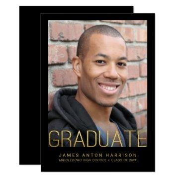 Graduation Photo Party Announcement Faux Gold Foil