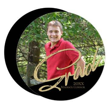 Graduation Photo Round Gold and Black Card