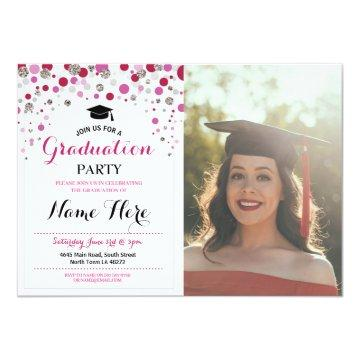 Graduation Pink Silver Party Polka Dot Photo