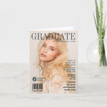 GRADUATION PRETEND MAGAZINE COVER PERSONALIZED INVITATION