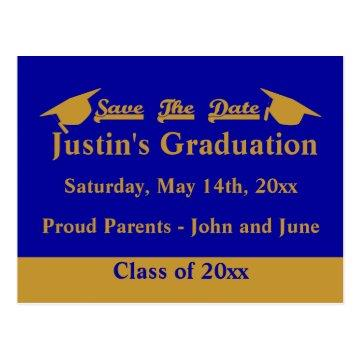 Graduation Save The Date Card Gold