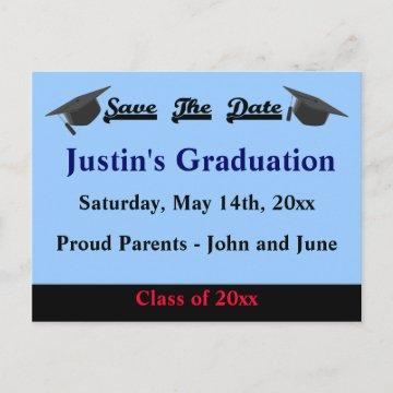 Graduation Save The Date Card Modern Blue
