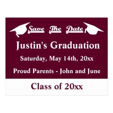 Graduation Save The Date Card With Maroon