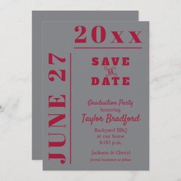 Graduation Save the Date Cards Crimson Gray