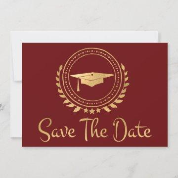 Graduation Save The Date Gold Grad Cap Red