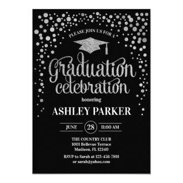 Graduation - Silver Black White Invitation