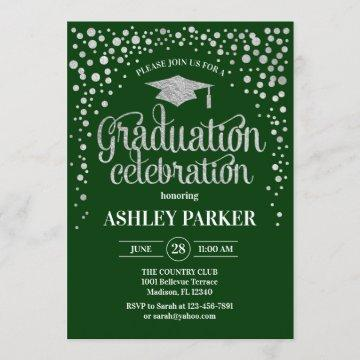Graduation - Silver Green Invitation