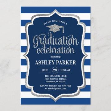 Graduation - Silver Navy Blue White Stripes Invitation