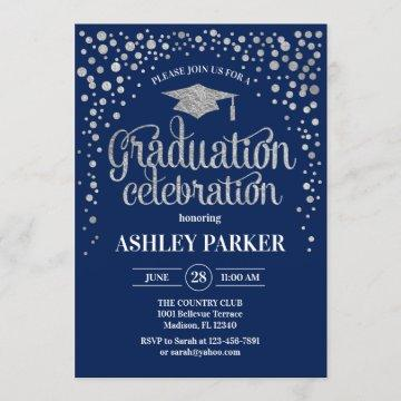 Graduation - Silver Navy Invitation