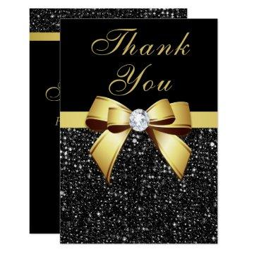 Graduation Thank You Black Sequins Gold Bow