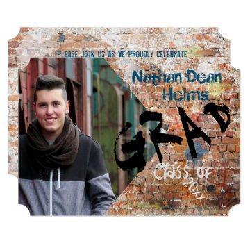 Graffiti Brick Wall Grad Announcement Photo Card