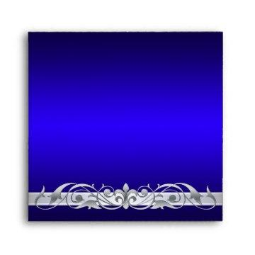 Grand Duchess Silver Scroll Square Blue Envelope