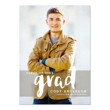 Graphic Grad Modern Brush Lettered | Graduation Invitation