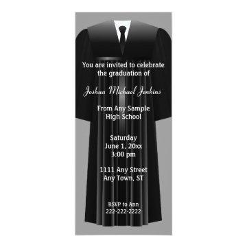 Gray and Black Mens Graduation Invitation