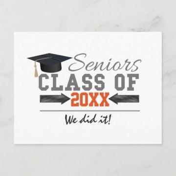 Gray and Orange Graduation Gear Announcement Postcard