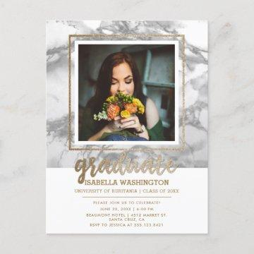 Gray Marble & Gold Glitter Script Photo Graduation Invitation Postcard