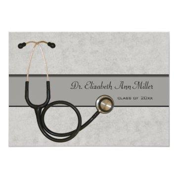 Gray Stethoscope - Graduation Party Invitation