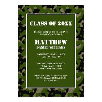 Green and Black Camo Graduation Announcement
